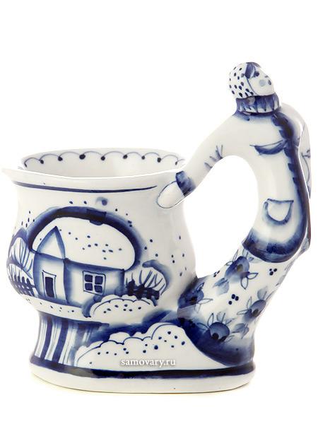 Бокал с художественной росписью Гжель Мороз, МарфаКерамический бокал с ручной росписью.<br>