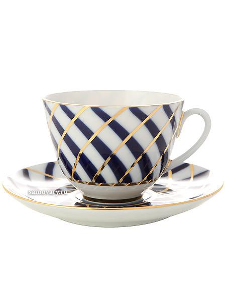 Чашка с блюдцем чайная форма Весенняя, рисунок Тодес, Императорский фарфоровый заводФарфоровая чайная пара.<br>Объем - 250 мл.<br>