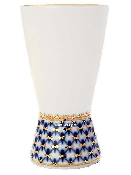 Фарфоровая ваза для салфеток форма Молодежная, рисунок Кобальтовая сетка, Императорский фарфоровый заводВаза для салфеток с традиционной росписью завода - Кобальтовая сетка.<br>