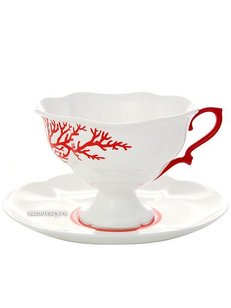 Чашка с блюдцем чайная форма Наташа, рисунок Коралл, Императорский фарфоровый заводФарфоровая чайная пара.<br>Объем - 220 мл.<br>