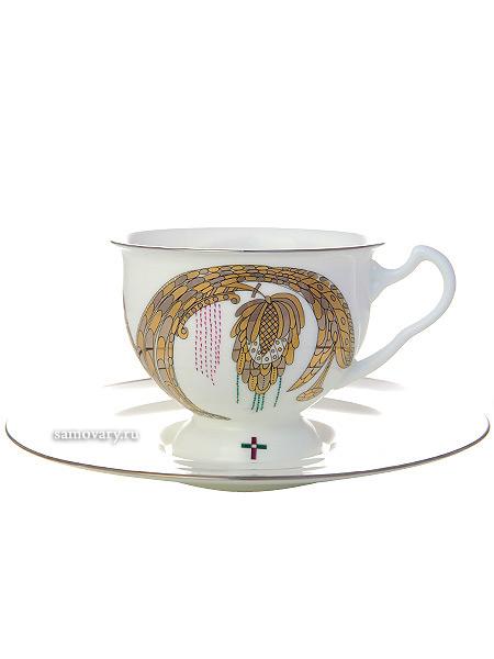 Чашка с блюдцем чайная форма Айседора, рисунок Навсегда вместе № 2, Императорский фарфоровый заводФарфоровая чайная пара.<br>Объем - 240 мл.<br>
