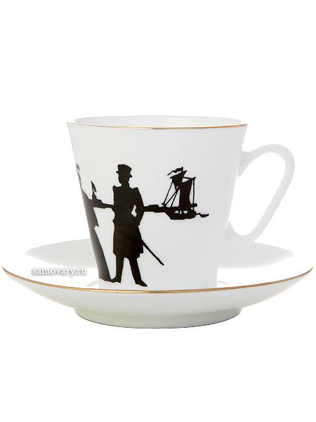 Кофейная чашка с блюдцем форма Черный кофе, рисунок Прогулка, серия Силуэты, Императорский фарфоровый заводНовинка!&#13;<br>Фарфоровая кофейная пара.&#13;<br>Объем чашки - 80 мл.<br>