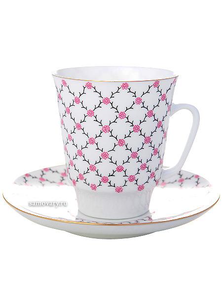 Чашка с блюдцем чайная форма Майская, рисунок Розовая сетка, Императорский фарфоровый заводФарфоровая чайная пара.&#13;<br>Объем - 165 мл.<br>
