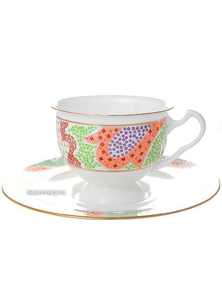 Чашка с блюдцем чайная форма Айседора, рисунок Мариенталь оранжевый, Императорский фарфоровый заводФарфоровая чайная пара.<br>Объем - 240 мл.<br>