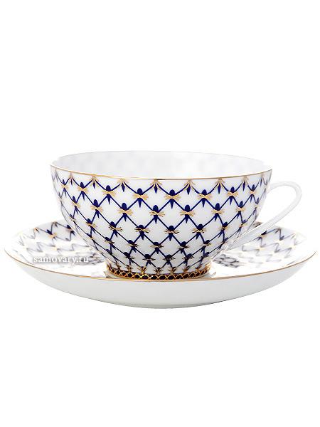 Сервиз чайный форма Купольная, рисунок Кобальтовая сетка 6/14, Императорский фарфоровый заводСервиз чайный из 14 предметов: 6 чайных пар, чайник заварочный и сахарница.<br>