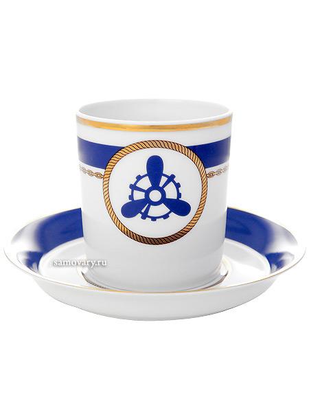 Чашка с блюдцем чайная форма Гербовая, рисунок Кают компания № 4, Императорский фарфоровый заводФарфоровая чайная пара.<br>Объем - 220 мл.<br>