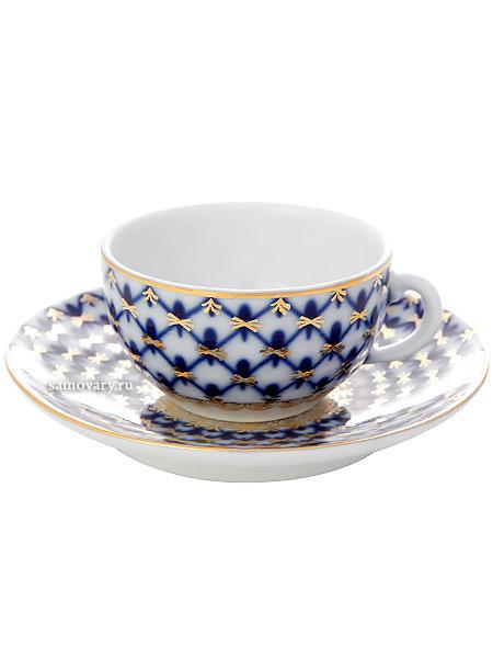 Фарфоровая чашка с блюдцем кофейная форма 40 г, рисунок Кобальтовая сетка, Императорский фарфоровый заводФарфоровая кофейная пара.&#13;<br>Объем чашки - 50 мл.<br>