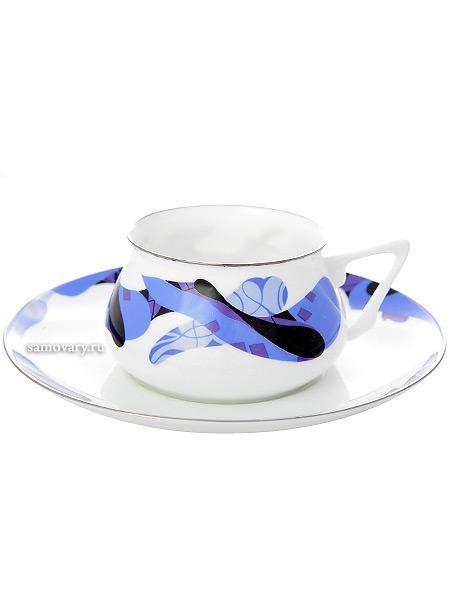 Чашка с блюдцем чайная форма Билибина 1, рисунок Карамель синяя, Императорский фарфоровый заводФарфоровая чайная пара.<br>Объем - 180 мл.<br>