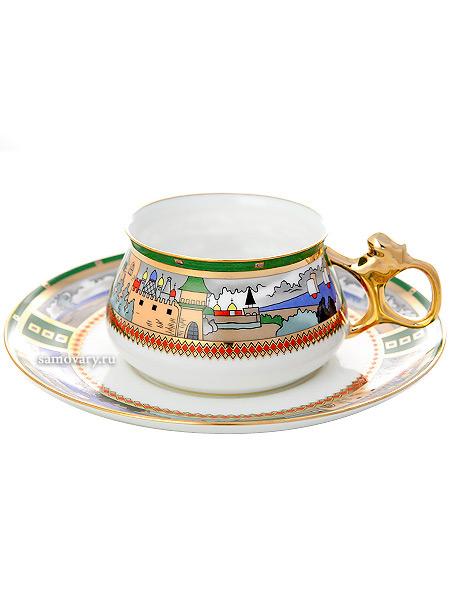 Чашка с блюдцем чайная форма Билибина, рисунок Деревня на озере, Императорский фарфоровый заводФарфоровая чайная пара.&#13;<br>Объем  - 180 мл.<br>