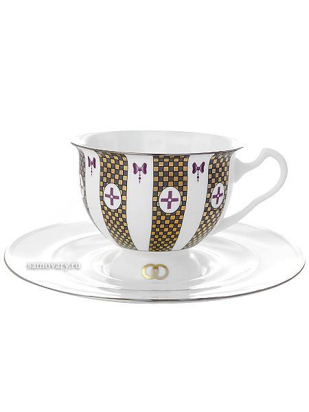 Чашка с блюдцем чайная форма Айседора, рисунок Навсегда вместе № 1, Императорский фарфоровый заводФарфоровая чайная пара.&#13;<br>Объем - 240 мл.<br>