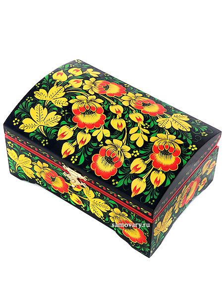 Деревянная шкатулка с росписью Хохлома 140х90, арт.115Деревянная шкатулка с хохломской росписью.<br>Размер - 140х90 мм.<br>
