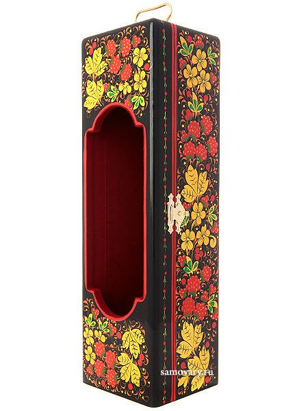 Шкатулка-футляр для вина с росписью Хохлома 30*9*8, арт.122 Тульские самовары