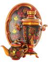 Набор самовар электрический 3 литра с художественной росписью Хохлома рыжая, арт. 131343Самовары электрические<br>Комплект из трех предметов:латунный самовар, металлический поднос и заварочный чайник.<br>