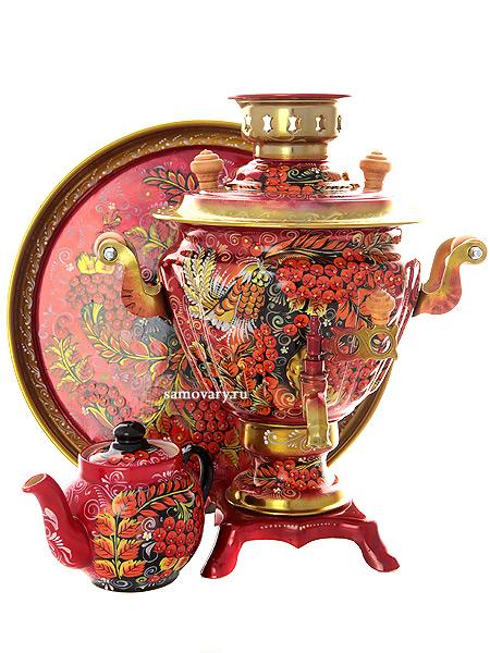 Набор самовар электрический 2 л с художественной росписью Хохлома на красном фоне мелкая (рябинка), арт. 131389Самовары электрические<br>Комплект из трех предметов:латунный самовар, металлический поднос и заварочный чайник.<br>