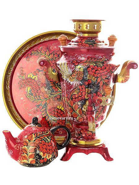"""Набор самовар электрический 1,5 литра с художественной росписью """"Хохлома на красном фоне"""", арт. 131387 Тульские самовары"""