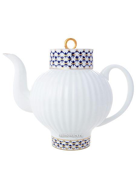 Чайник заварочный, форма Волна, рисунок Кобальтовая сетка, Императорский фарфоровый заводФарфоровый чайник.<br>Объем - 800 мл.<br>