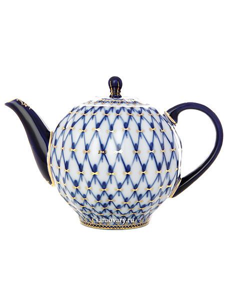 Чайник заварочный, форма Тюльпан, рисунок Кобальтовая сетка, Императорский фарфоровый заводФарфоровый чайник.<br>Объем - 600 мл.<br>