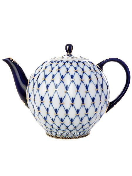 Чайник доливной форма Тюльпан, рисунок Кобальтовая сетка, Императорский фарфоровый заводФарфоровый чайник доливной.&#13;<br>Объем - 2 л.<br>