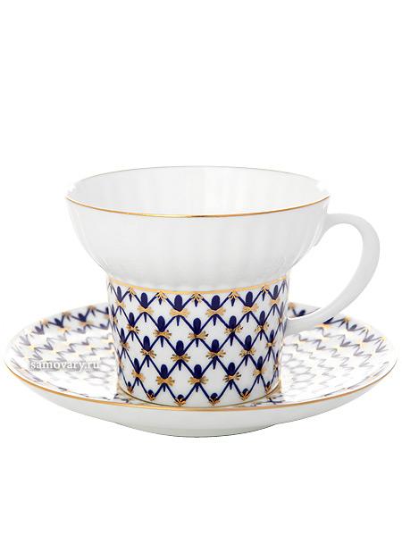 Чашка с блюдцем чайная форма Волна, рисунок Кобальтовая сетка, Императорский фарфоровый заводФарфоровая чайная пара.&#13;<br>Объем  - 155 мл.<br>