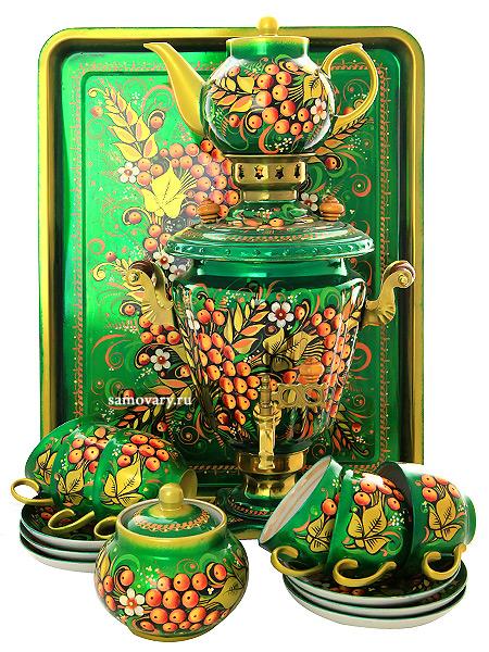 """Набор самовар электрический 3 литра с художественной росписью """"Рябина на зеленом фоне"""" с чайным сервизом, арт. 130412с Тула"""