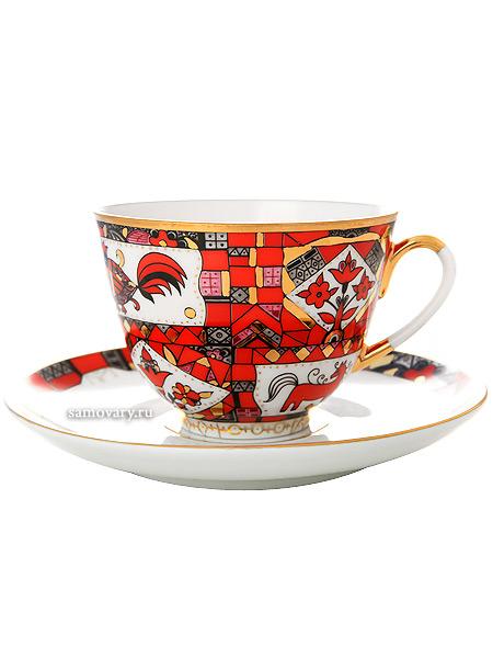 Чашка с блюдцем чайная форма Весенняя, рисунок Красный конь, Императорский фарфоровый заводФарфоровая чайная пара.<br>Объем  - 250 мл.<br>