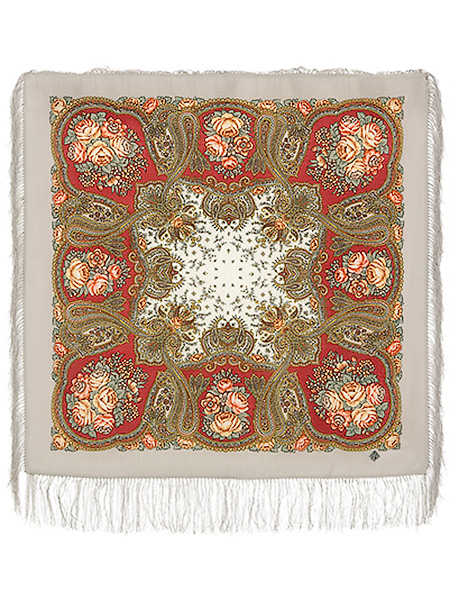 Шерстяной павлово посадский платок Сольвейг, 89*89 см,  арт. 1549-4Платок шерстяной с набивным рисунком и шелковой бахромой.&#13;<br>Размер 89*89 см.<br>