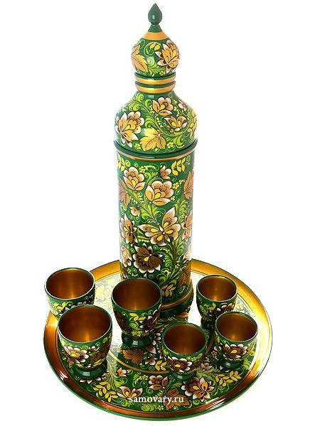 Набор для вина Кудрина на зеленом фоне 8 предметовДеревянный набор для вина с хохломской росписью.&#13;<br>Состоит из 8 предметов.<br>