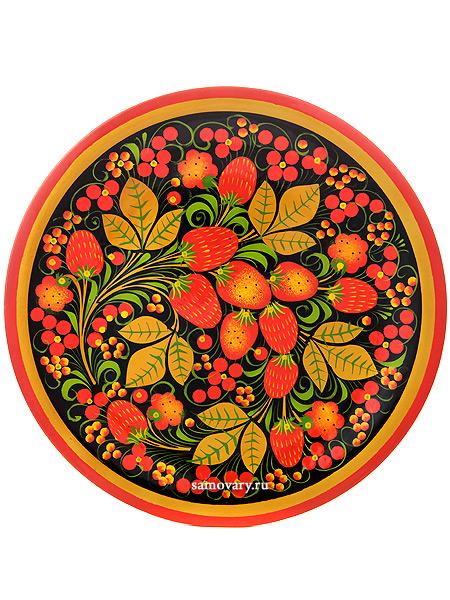 Тарелка-панно хохлома Клубника 250Х20Деревянная тарелка-панно с хохломской росписью.&#13;<br>Размер - 250х20 мм.<br>