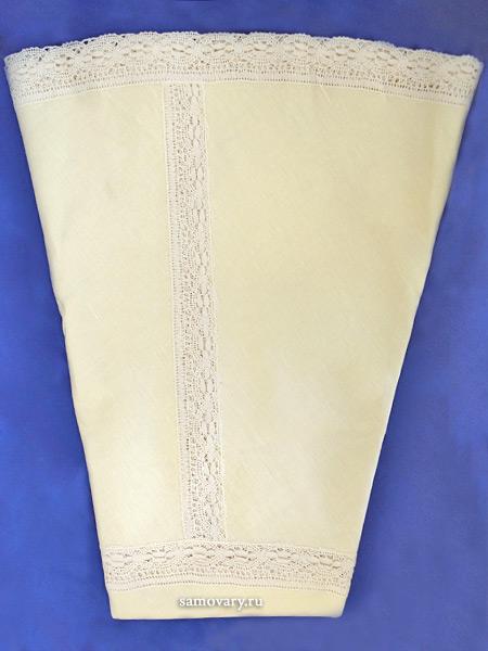 Льняная круглая скатерть цвет топленого молока с Вологодским кружевом, арт. 6с-643м, d-175 Тульские самовары