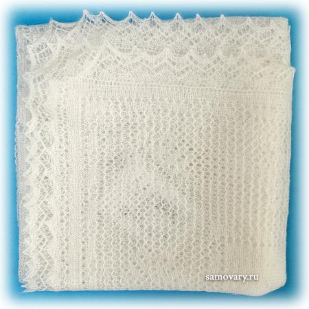 Пуховый оренбургский платок белый (паутинка), арт. А110-01Оренбургский платок пуховый, цвет - белый.&#13;<br>Размер - 110х110 см.&#13;<br>Состав: пух – 78%, вискоза – 22%.<br>