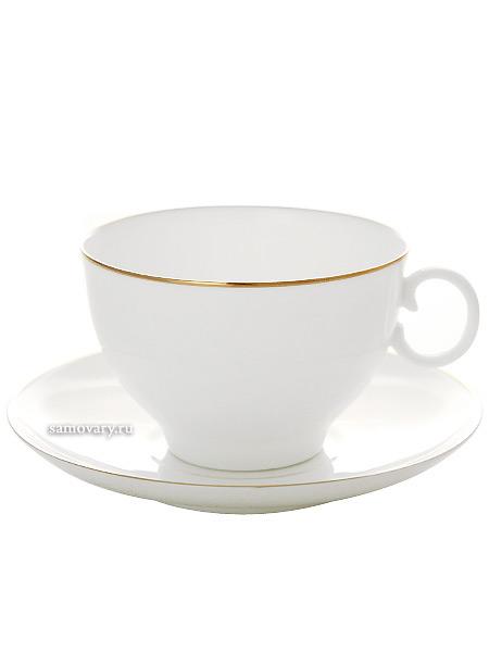 Сервиз чайный форма Яблочко, рисунок Золотой кант 6/20, Императорский фарфоровый заводСервиз чайный из 20 предметов: 6 чайных пар, чайник заварочный, сахарница и 6 десертных тарелок.<br>