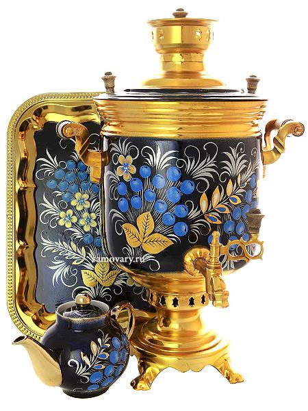Набор с угольным самоваром 7 литров цилиндр с художественной росписью Рябина зимняя, арт. 220788Набор с термостойкой художественной росписью: угольный самовар, металлический поднос, керамический чайник.&#13;<br>Труба для отвода дыма в комплекте.<br>