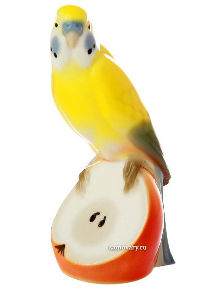 Скульптура Волнистый попугайчик Яшка, Императорский фарфоровый заводФарфоровая сувенирная фигурка.<br>