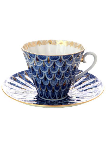 Чашка с блюдцем чайная форма Лучистая, рисунок Незабудка, Императорский фарфоровый заводФарфоровая чайная пара.&#13;<br>Объем - 235 мл.<br>