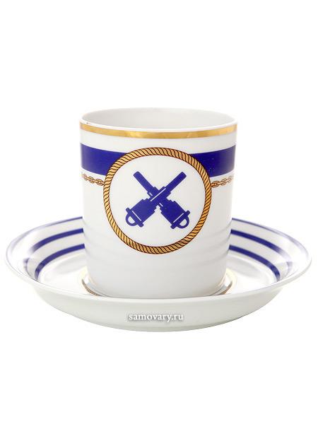 Чашка с блюдцем чайная форма Гербовая, рисунок Кают компания № 2, Императорский фарфоровый заводФарфоровая чайная пара.<br>Объем  - 220 мл.<br>