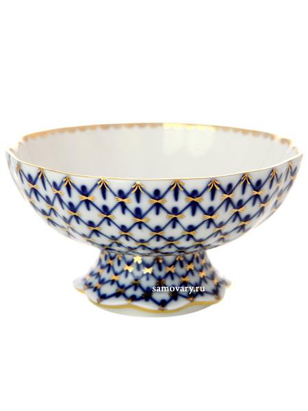 Фарфоровая вазочка для конфет форма Тюльпан, рисунок Кобальтовая сетка, Императорский фарфоровый заводИзящная ваза для сладостей.&#13;<br>Объём: 300 мл.<br>