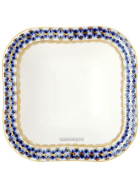 Салатник на 1 порцию, форма Молодежная, рисунок Кобальтовая сетка, Императорский фарфоровый заводФарфоровый салатник на 1 порцию.<br>Длина и ширина - 11 см.<br>