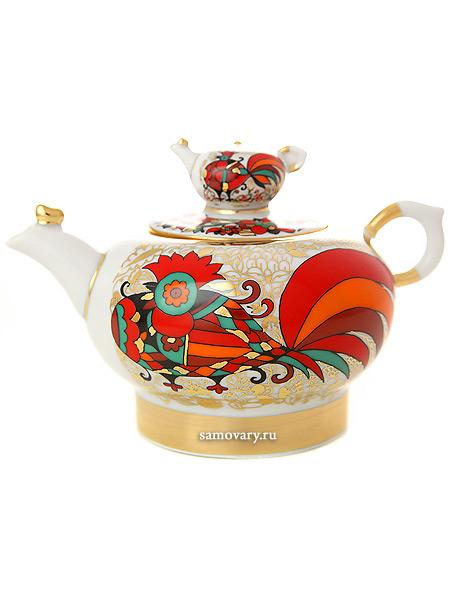 Чайник заварочный форма Семейный, рисунок Красный петух, Императорский фарфоровый заводФарфоровый чайник.&#13;<br>Объем - 250 мл.<br>
