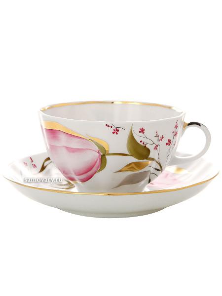 Сервиз чайный форма Тюльпан, рисунок Розовые тюльпаны 6/20, Императорский фарфоровый заводСервиз чайный из 20 предметов: 6 чайных пар, чайник заварочный, сахарница и 6 десертных тарелок.<br>