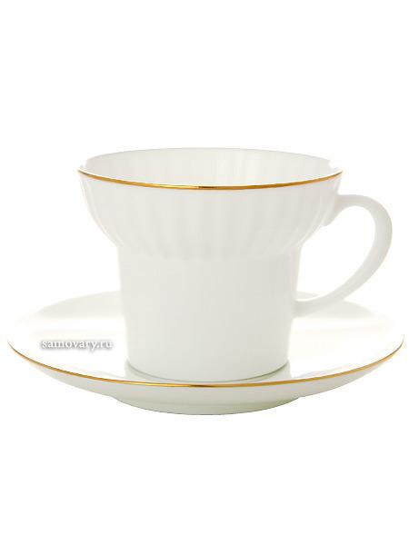 Сервиз чайный форма Волна, рисунок Золотой кантик с отводкой 6/20, Императорский фарфоровый заводаСервиз чайный из 20 предметов: 6 чайных пар, 6 десертных тарелок, чайник заварочный и сахарница.<br>