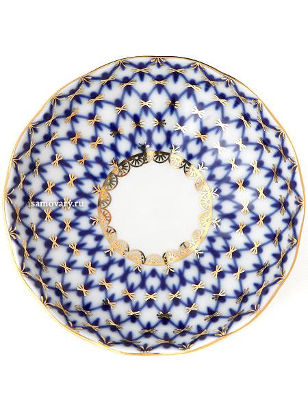 Розетка форма Тюльпан, рисунок Кобальтовая сетка, Императорский фарфоровый заводФарфоровая розетка.<br>