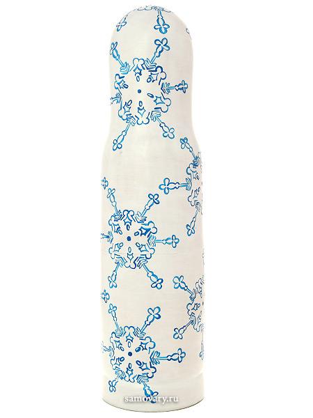 Матрешка-штоф Зима на белом фоне арт.017Матрешка-штоф для бутылки объемом 0,5л.&#13;<br>Высота - 33 см.<br>