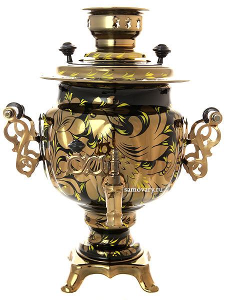 Электрический самовар 3 литра с художественной росписью Золотые цветы на черном фоне, арт. 140408Самовары электрические<br>Латунный самовар с термостойкой росписью.<br>