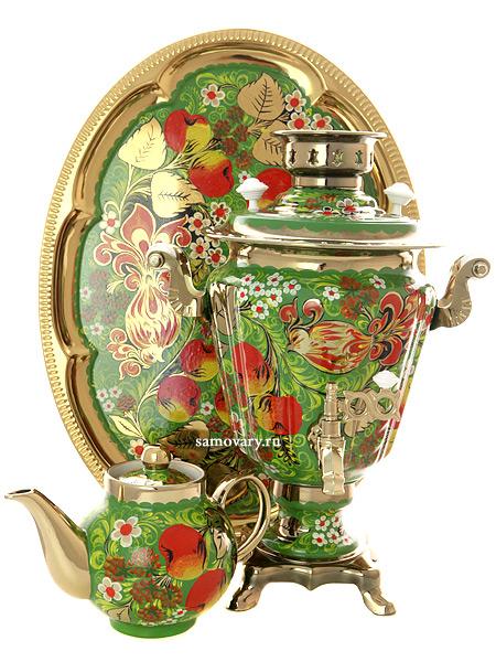 Набор самовар электрический 3 литра с художественной росписью Яблоки на зеленом фоне, арт. 130466Самовары электрические<br>Комплект из трех предметов:латунный самовар, металлический поднос и заварочный чайник.<br>