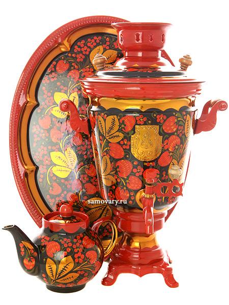 Набор самовар электрический 4 литра с художественной росписью Хохлома рыжая, арт. 121086Комплект из трех предметов:латунный самовар, металлический поднос и заварочный чайник.<br>