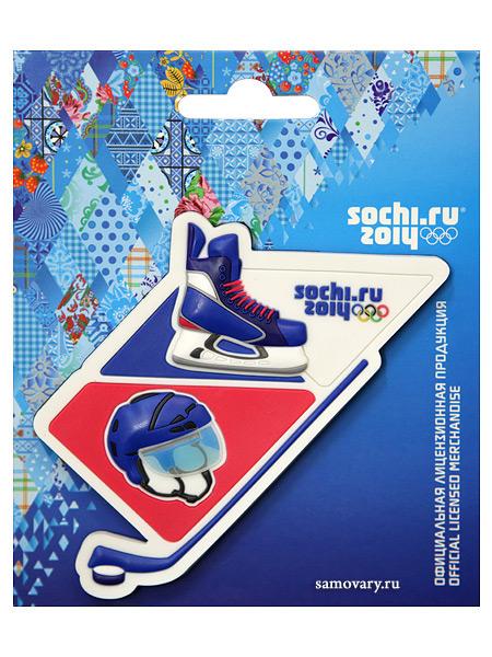 Магнит Сочи 2014 ПВХ Хоккейные атрибутыСувенир Сочи 2014.&#13;<br>Магнит с изображением символики Олимпиады 2014 года.<br>