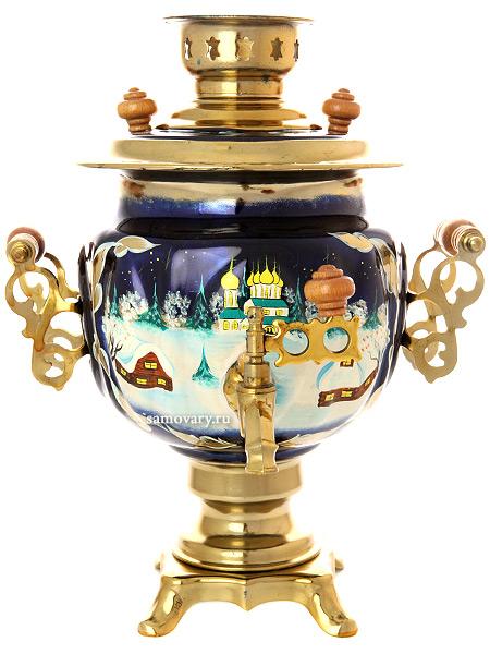 Электрический самовар 3 литра с художественной росписью Зимняя деревня, арт. 130265Латунный самовар с термостойкой росписью.<br>