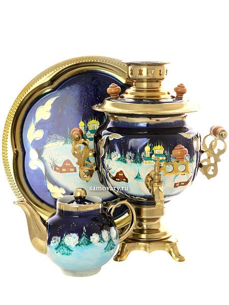 Набор самовар электрический 3 литра с художественной росписью Зимняя деревня,  арт. 155691Самовары электрические<br>Комплект из трех предметов:латунный самовар, металлический поднос и заварочный чайник.<br>