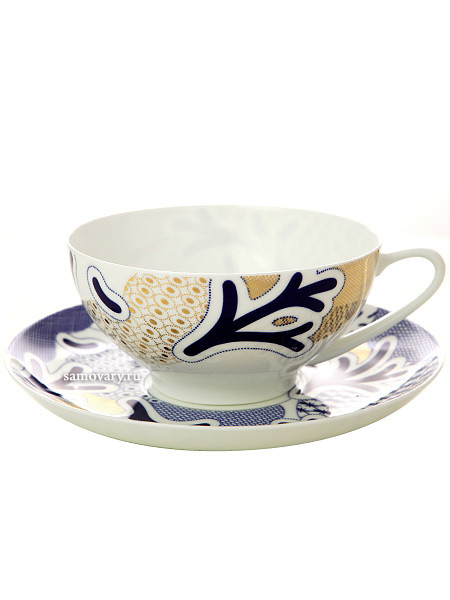 Сервиз чайный форма Купольная, рисунок Синий узор 6/14, Императорский фарфоровый заводСервиз чайный из 14 предметов: 6 чайных пар, чайник заварочный и сахарница.<br>