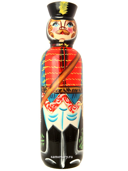 Матрешка-штоф Гусар. Синий кафтан 0,7 л арт.007Матрешка-штоф  для бутылки объемом 0,7 л. &#13;<br>Высота - 38 см.<br>